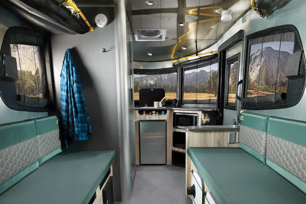 Interior of a small travel trailer