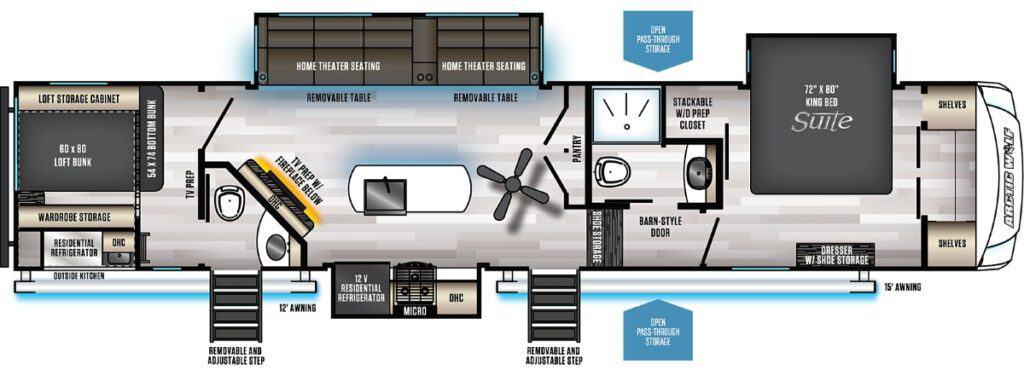 Floor plan of an Artic Wolf 3370 Suite
