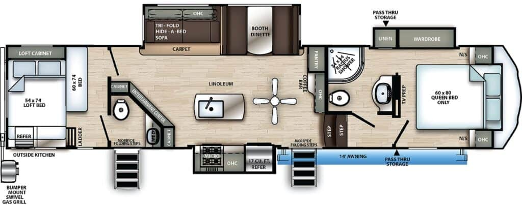 Floor plan of a Sierra C-Class 3440BH