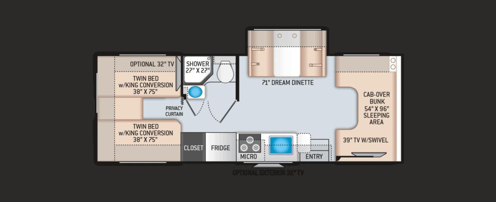 Floorplan of a Class C RV