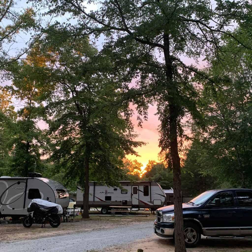 Newberry/ I-26/ Sumter NF KOA campground at sunset.