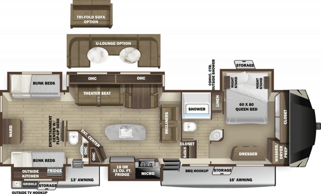 Floor plan of a fifth wheel with bunk beds.