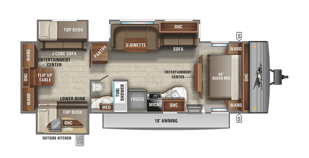 RV with bunk beds floor plan - The 2021 Jay Flight 32TSBH layout.
