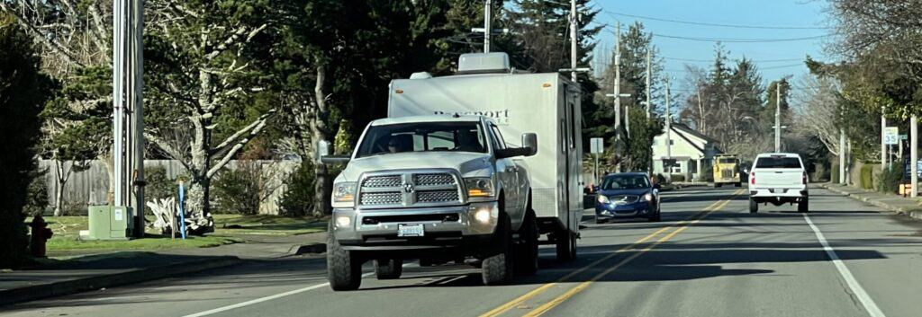 truck towing a camper trailer