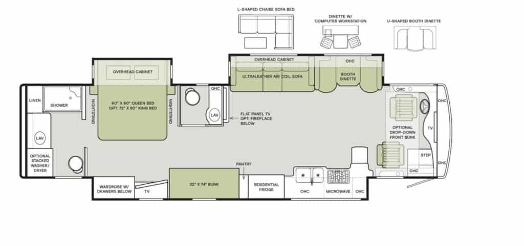 Floor plan of RV with bunk beds: the 2021 Allegro Red 38 KA layout.