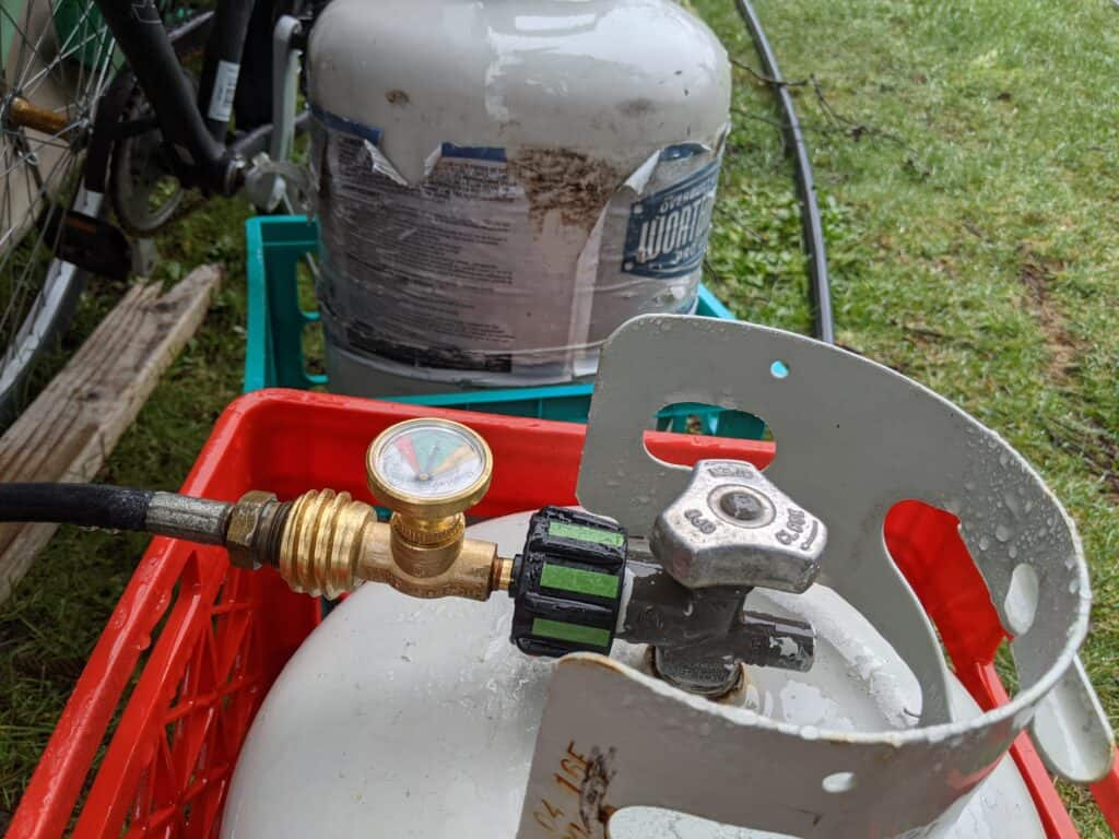 GasStop connected to a 20lb propane tank