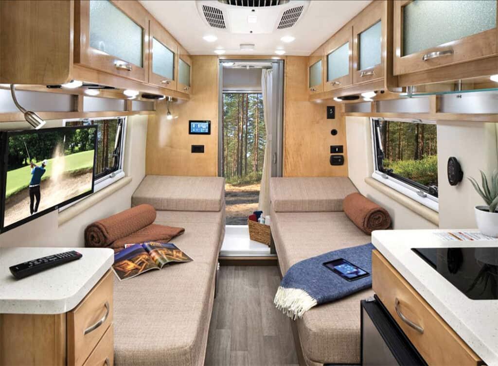 Coachmen Nova interior with twin beds.