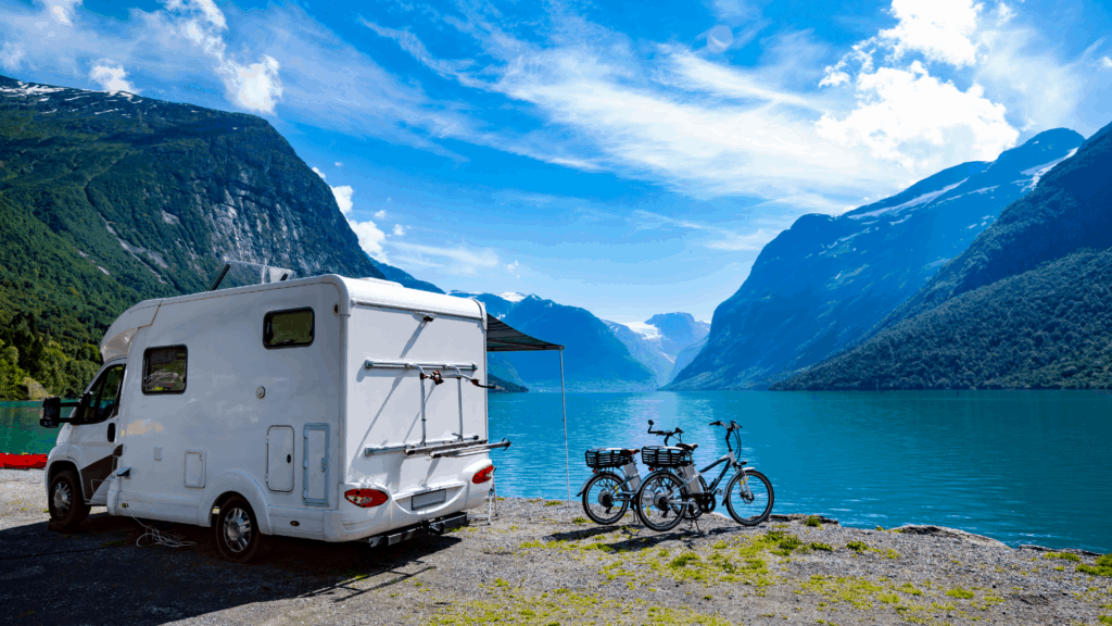 motorhome rental with bicycles by the water