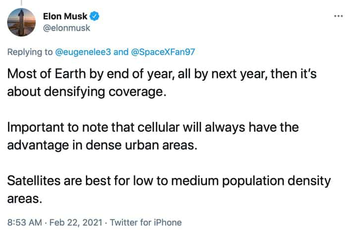 Tweet by Elon Musk stating that Starlink will have coverage for most of earth by 2022