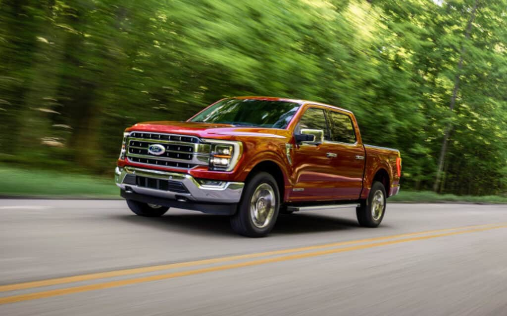 Ford F-150 driving on road