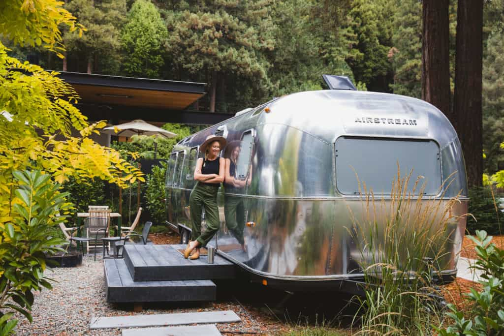 An Airstream on site offered by Autocamp.