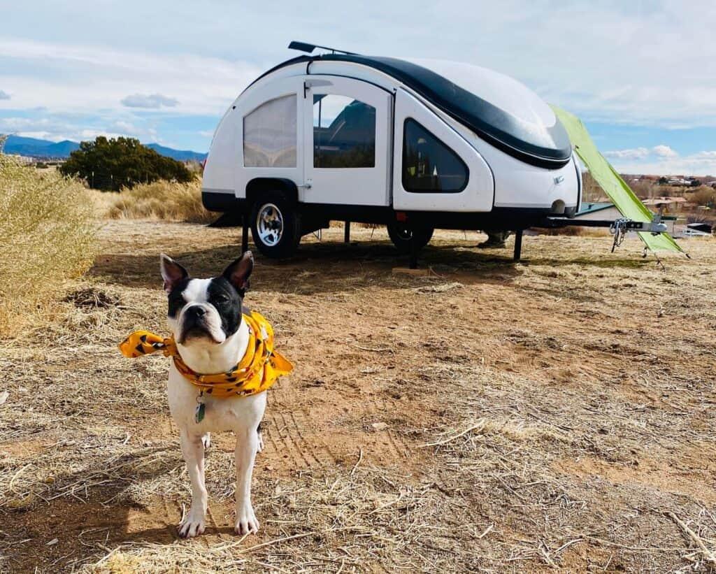 Earth traveler teardrop trailer setup at camp.