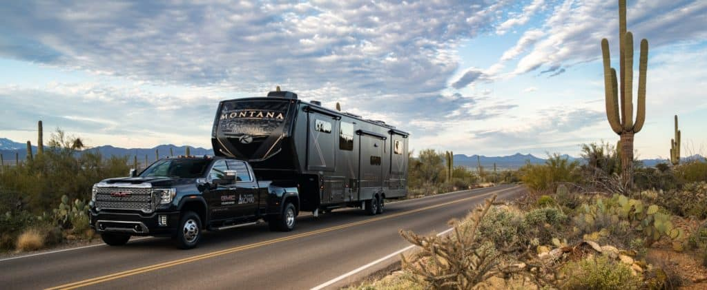 solo RVer traveling in a large fifth wheel