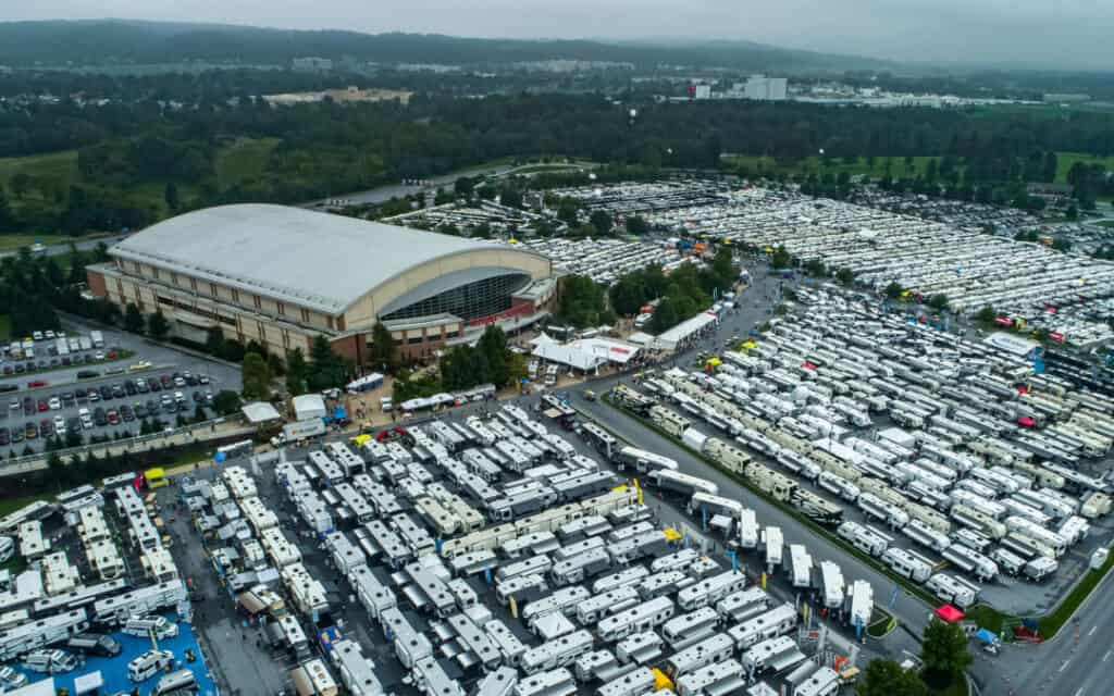 Aerial view of a massive RV show in Hershey PA with over 1500 RVs on display