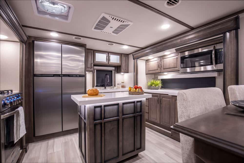 Grand Design Solitude interior with kitchen island.
