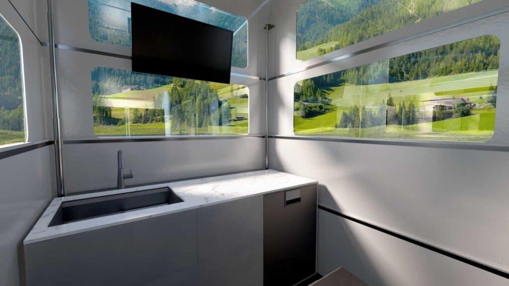 The CyberLandr truck camper kitchen