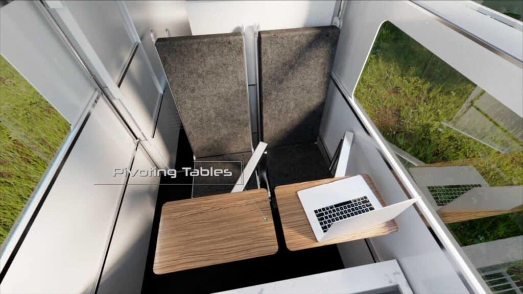 The CyberLandr truck camper set up as an office.