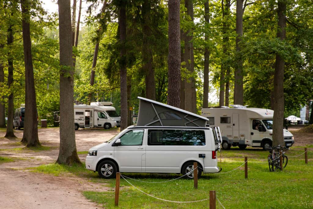 Class B camper van in campground