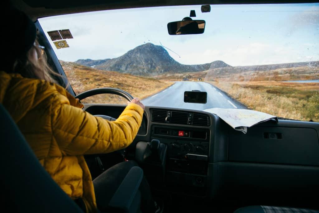 Women driving a camper van