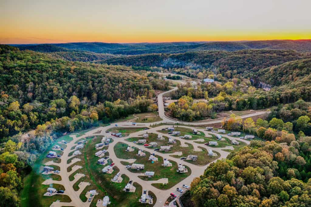aerial view of RV park at sunset