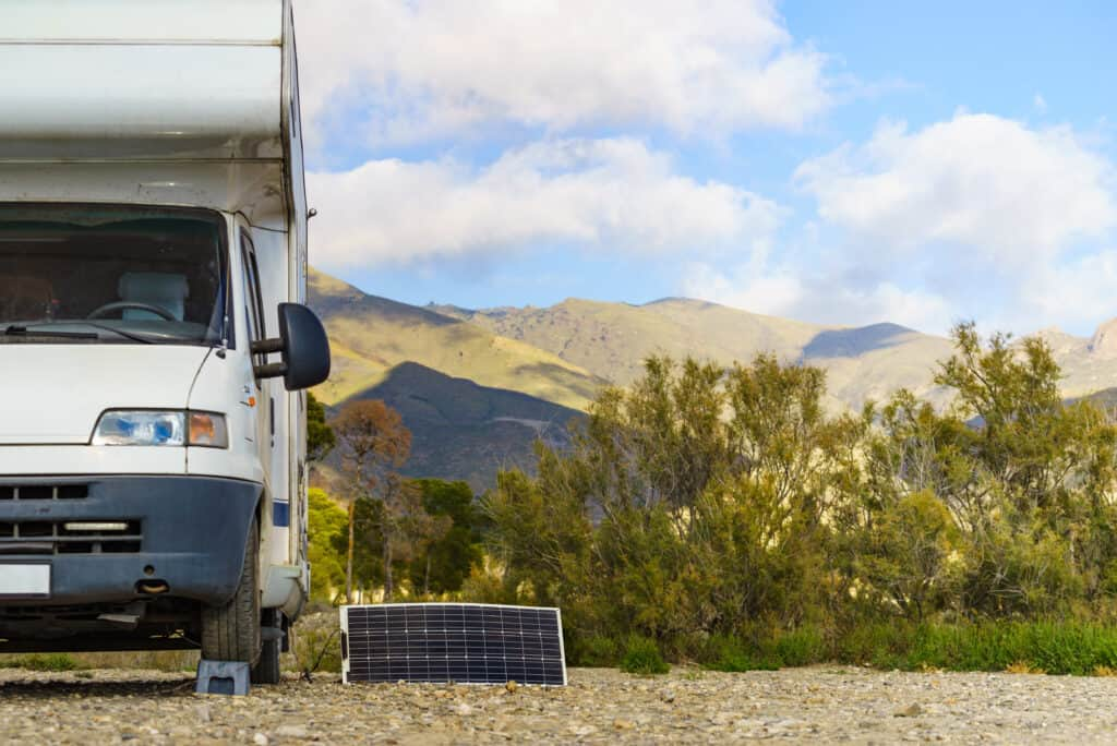 camper battery connected to a solar panel