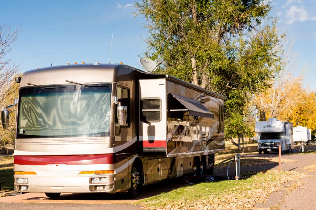 high end RV at campsite
