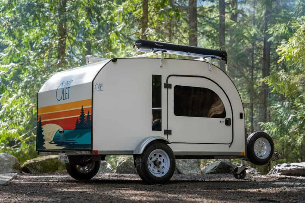 DROPLET teardrop trailer with custom artwork on the rear panel