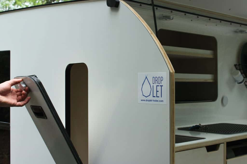 DROPLET XL teardrop trailer showcasing the extra storage features