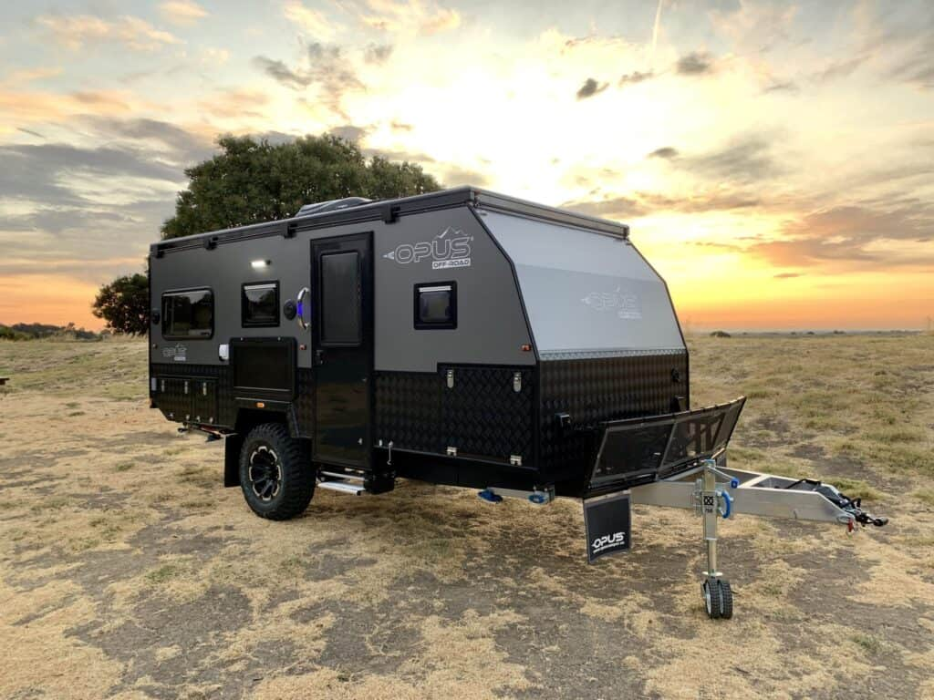 exterior features on Opus camper