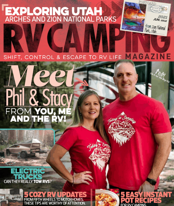 Cover shot of new RV camping magazine featuring You, Me, & the RV.