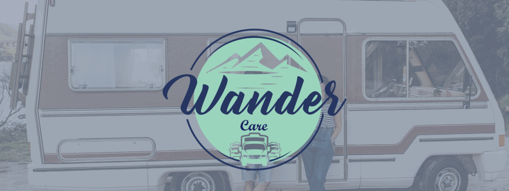 Wander Care logo with RV backdrop