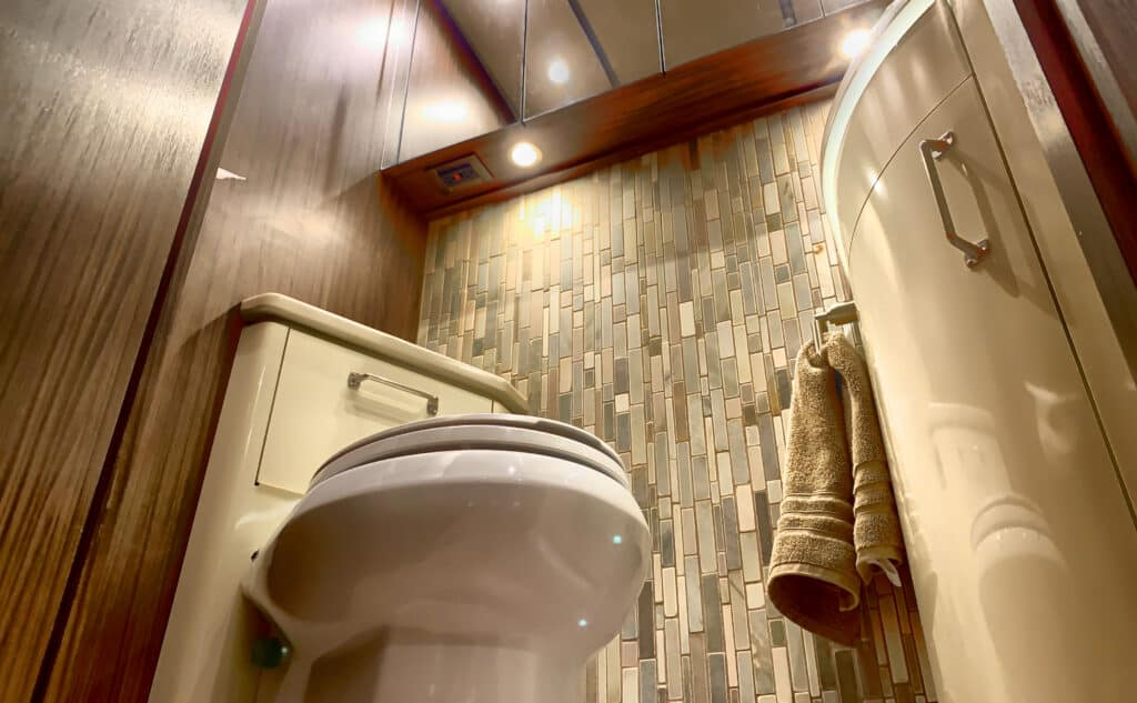 bathroom with RV toilet and RV bidet
