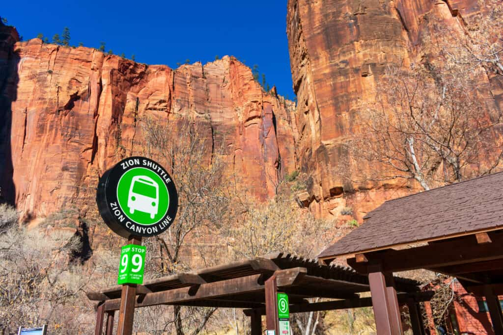 shuttle sign in Zion National Park