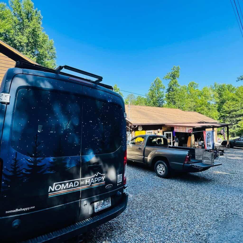 camper van in parking lot