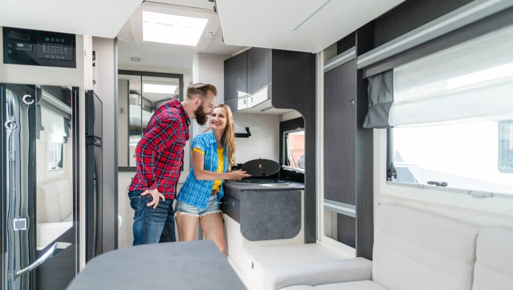 couple performing an RV Pre Delivery Inspection