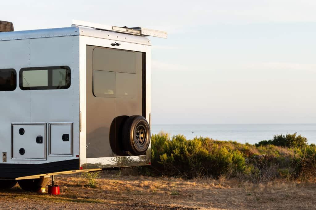 back of Living Vehicle luxury travel trailer