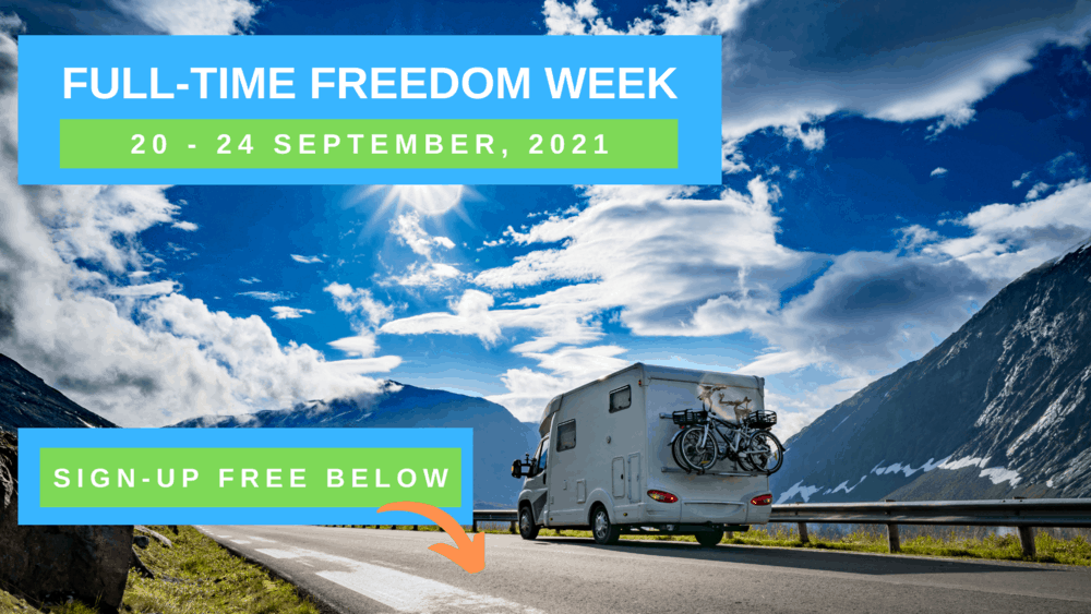Full-Time Freedom Week Virtual RV Event logo featuring RV driving down the road