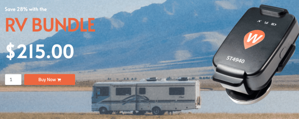 Wheresafe GPS ad with picture of RV and gps tracker.
