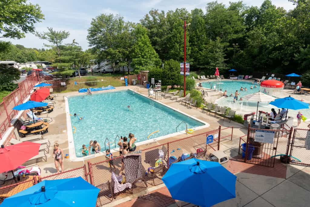 Overhead view of two pools at Cherry Hill Park