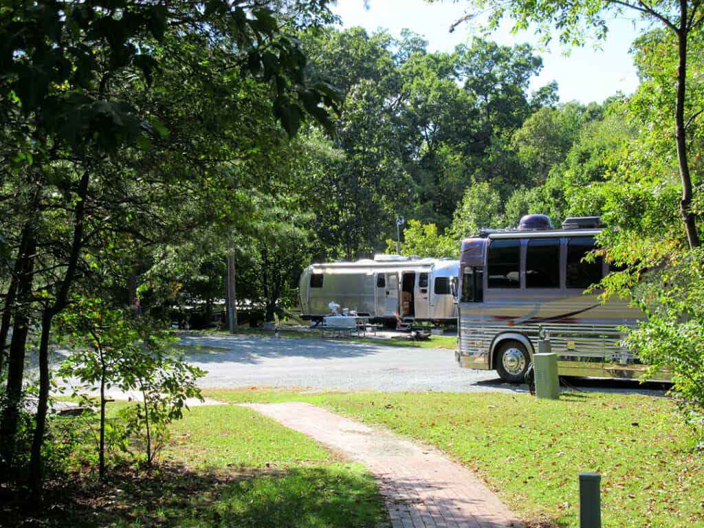 Forested campsites at Cherry Hill Park