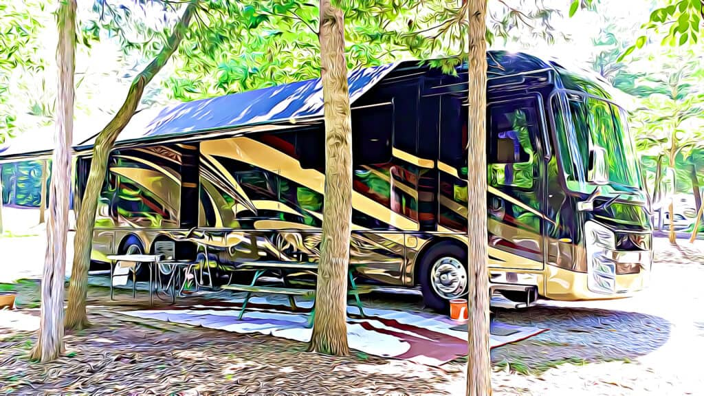 motorhome parked in RV lot