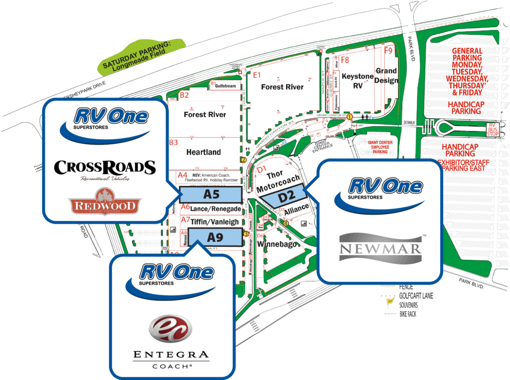RV One placement map for Hershey RV Show
