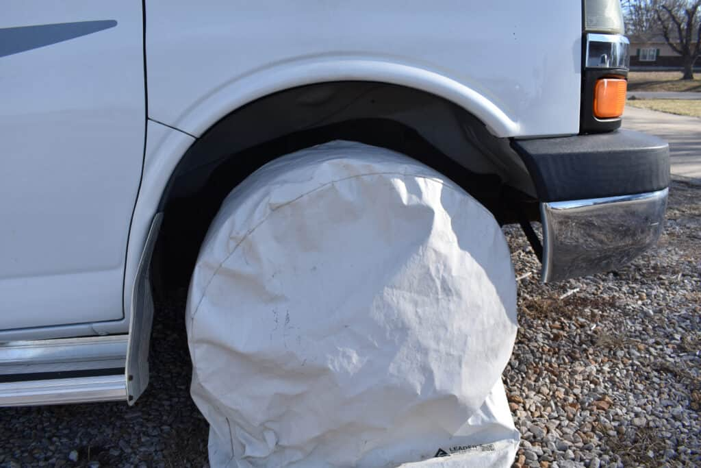 tire covered with camper tire covers