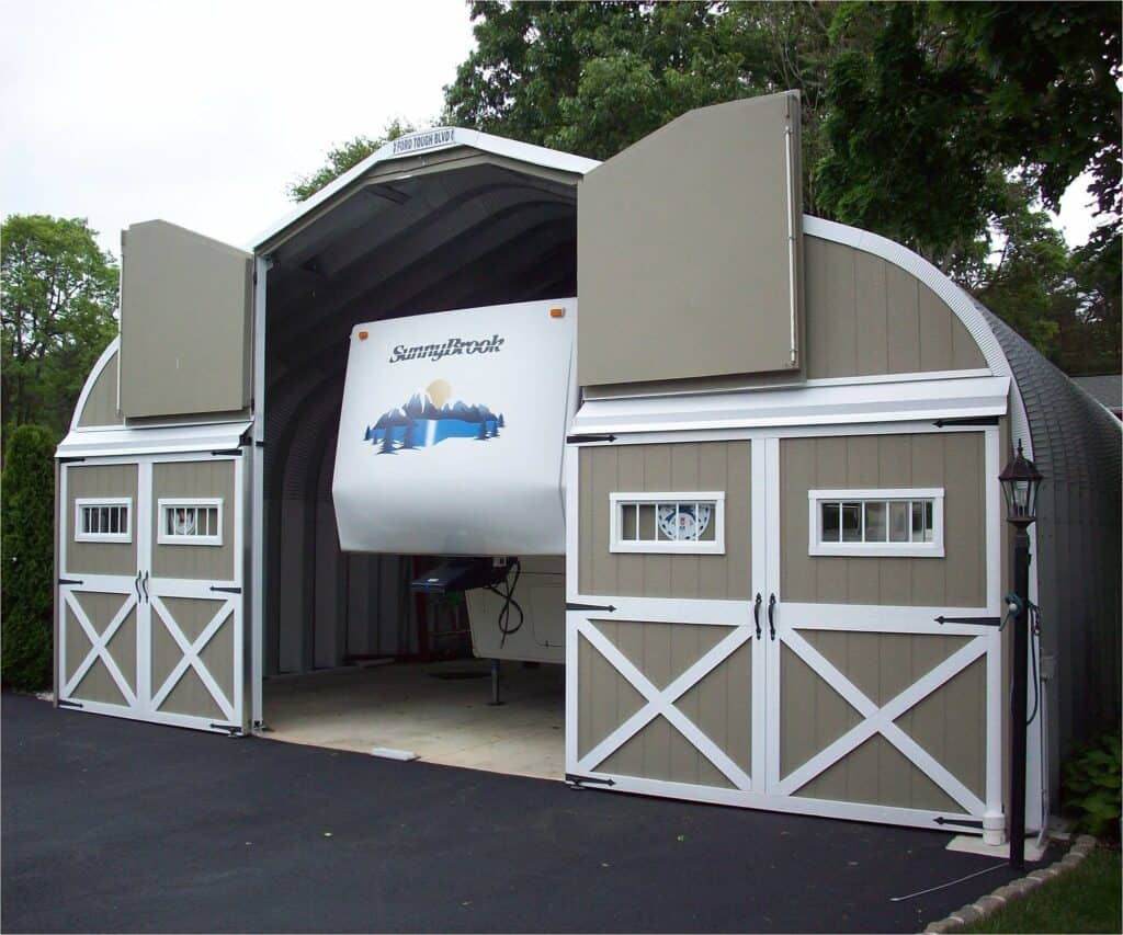 fifth wheel inside enclosed storage space with RV Storage Humidity Control